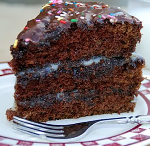Fudgy Pudgy Chocolate Cake from dineanddish.net