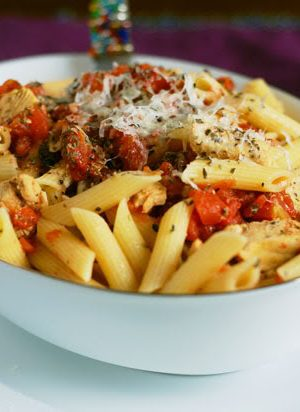 Moms Perogative (Penne and Chicken Tenderloins with Spiced Tomato Sauce)