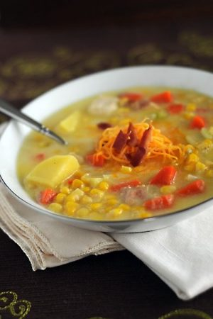 Corn and Vegetable Chowder with Chicken from dineanddish.net