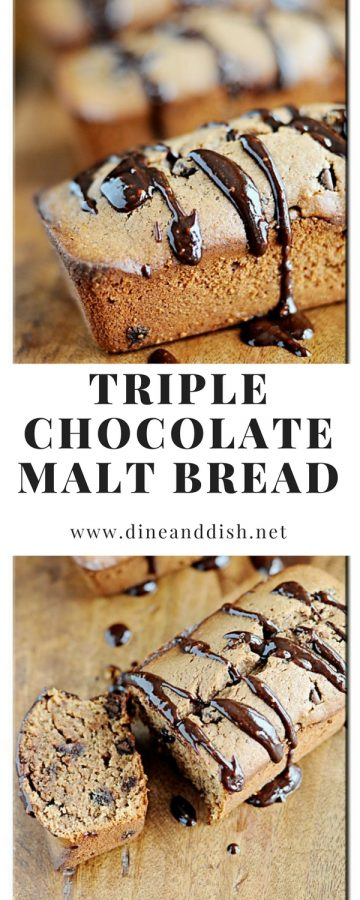 Triple Chocolate Malt Bread is a chocolate lovers dream! Find the recipe at dineanddish.net.