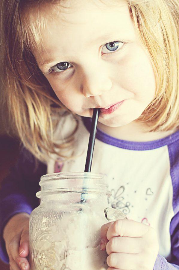 Ella drinking frozen hot chocolate