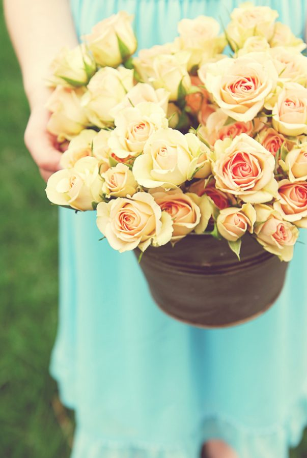 Fresh Flowers in a Pail
