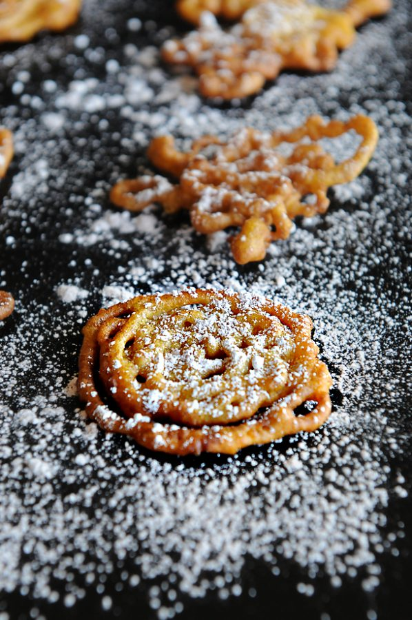 Bite Sized Funnel Cake Recipe with Pumpkin - perfect for the fall season or any time of year! Recipe from dineanddish.net