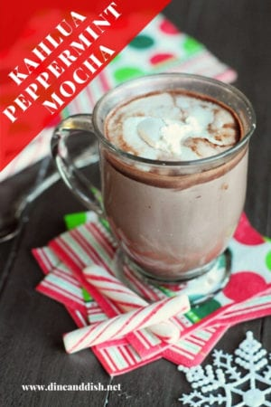 mug of hot chocolate on festive Christmas napkins