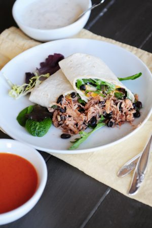 It's a Wrap {Recipe: Buffalo Chicken and Black Bean Wrap}