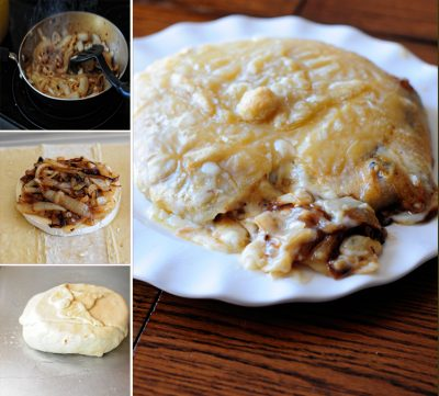 Baked Brie with Caramelized Onions from dineanddish.net