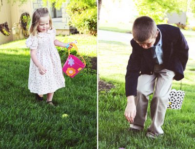 Kids hunting eggs