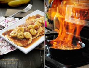 A Month Long Pancake Party {Recipe: Bananas Foster Pancakes}