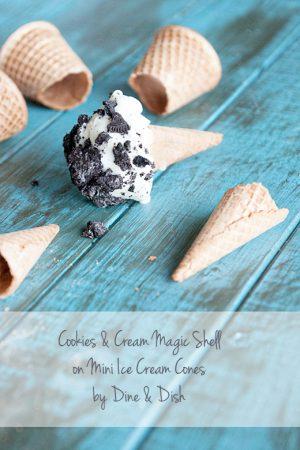 Cookies & Cream Magic Shell on Mini Ice Cream Cones