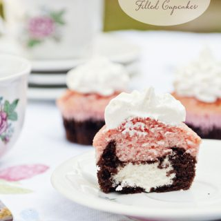 Neapolitan Cream Filled Cupcakes at www.dineanddish.net
