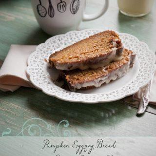 Pumpkin Eggnog Bread Recipe with Creamy Eggnog Glaze