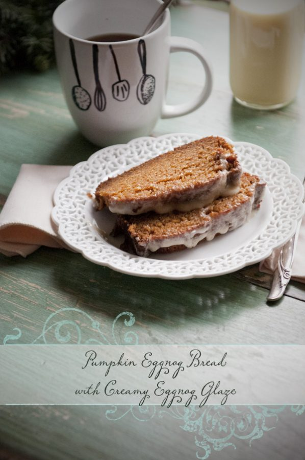 Pumpkin Eggnog Bread with Creamy Pumpkin Glaze