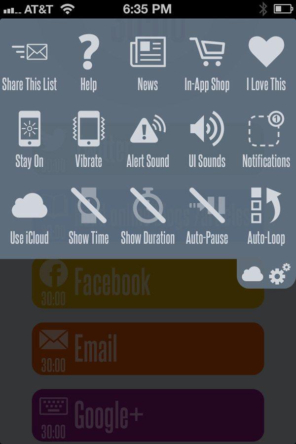 30/30 App Menu