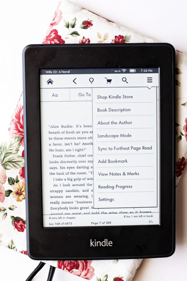 Kindle Paperwhite Menu Page