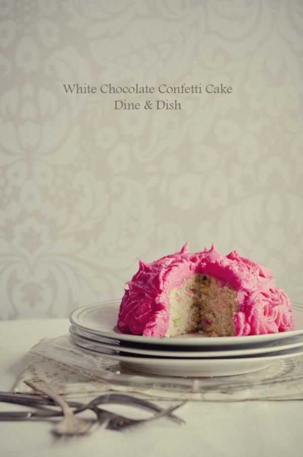 White Chocolate Confetti Cake