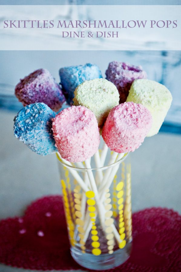 Skittles Marshmallow Pops www.dineanddish.net