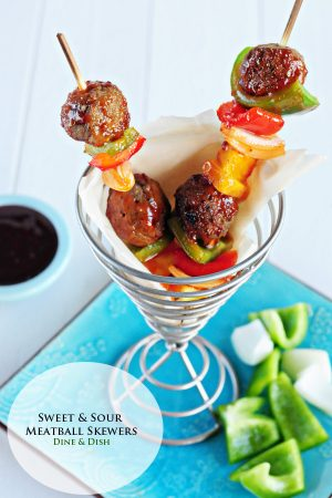 Sweet and Sour Meatball Skewers www.dineanddish.net