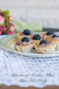 Easter Bites {Recipe: Blueberry Mousse Filled Mini Fillo Shells}