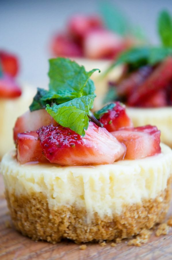 Cheesecake Minis with Strawberry Balsamic Mint Toppint