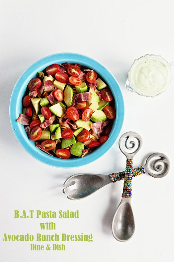 Bacon Avocado Tomato Pasta Salad with Avocado Ranch Dressing