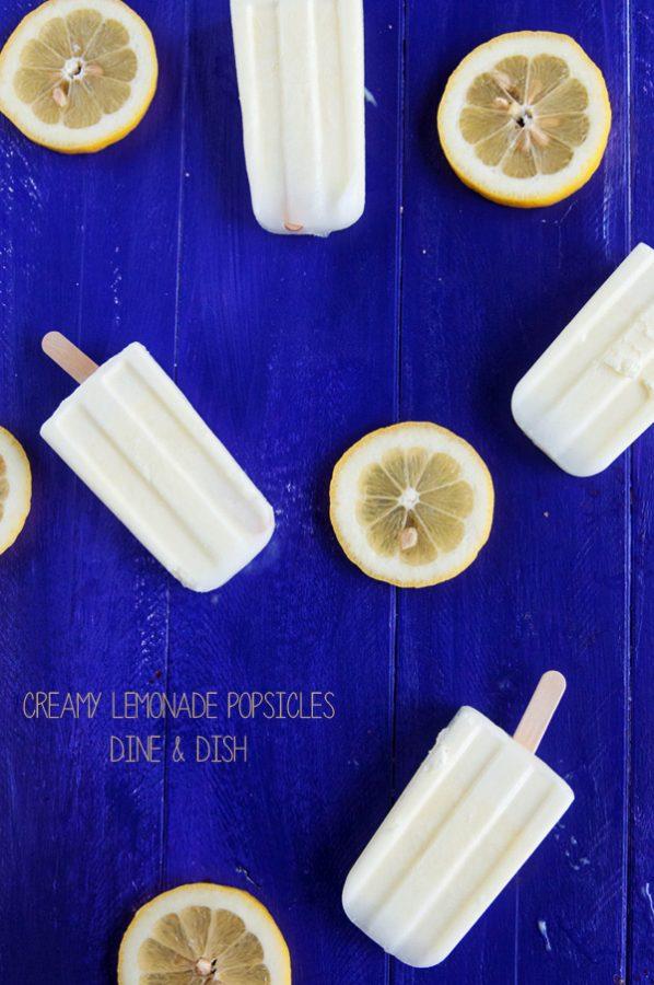 Creamy Lemonade Popsicles from www.dineanddish.net