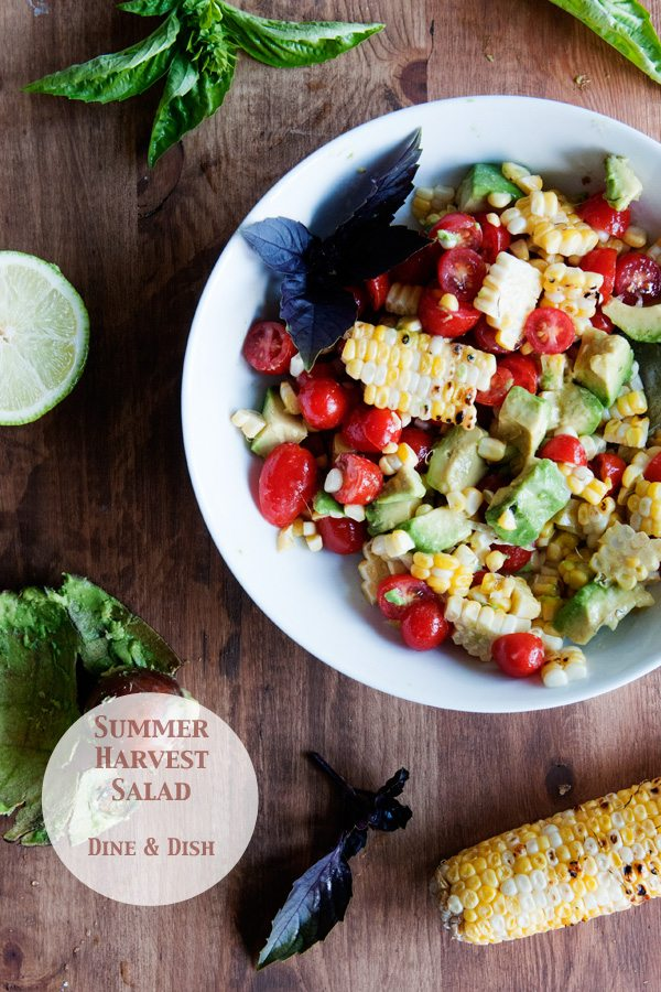 Summer Harvest Salad - Tomatoes, Grilled Corn and Avocados