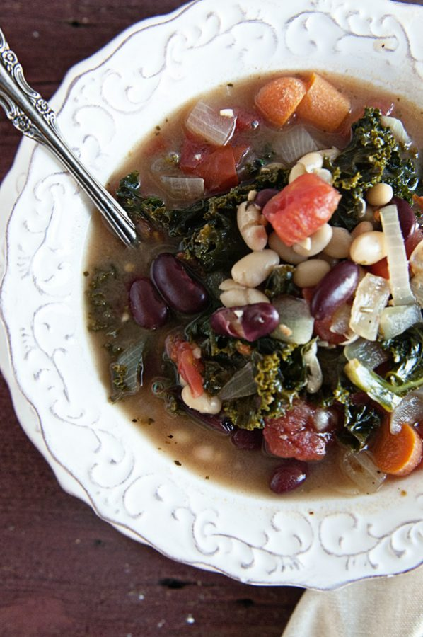 Healthy 2 Bean Kale Soup www.dineanddish.net