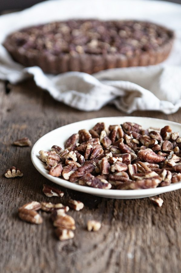 Plate of Diamond Nuts Pecan Halves for Chocolate Pecan Pie