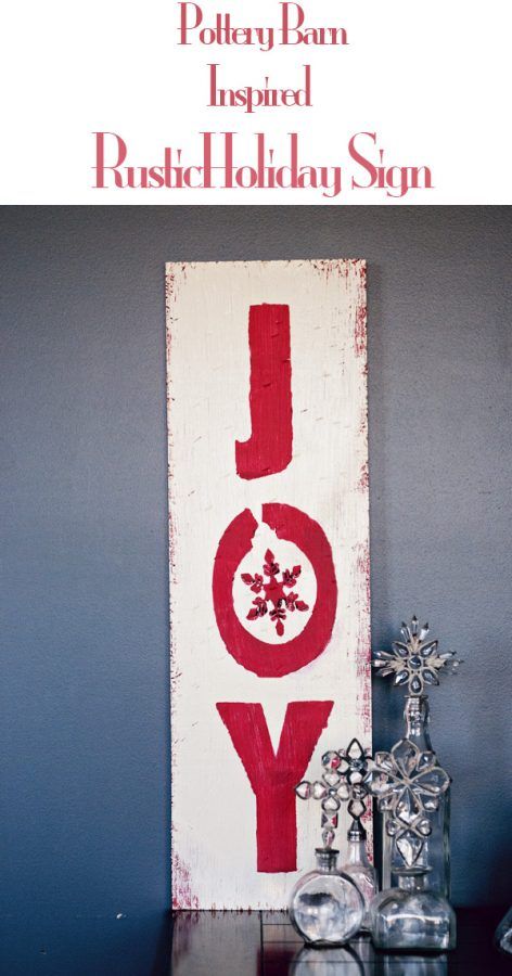 Pottery Barn Inspired Rustic Holiday Sign at dineanddish.net