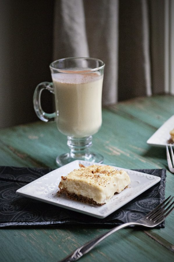 Eggnog Cheesecake Bars by dineanddish.net