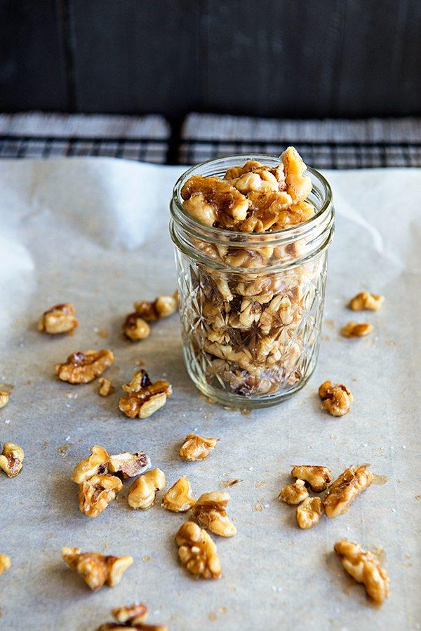 Whiskey Honey Toasted Walnut Recipe dineanddish.net