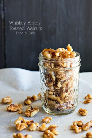 Whiskey Honey Toasted Walnuts from www.dineanddish.net