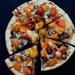 Oven Roasted Veggie Pizza on dineanddish.net #pizzaweek