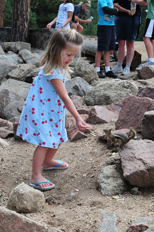 Leah Feeding Chipmunk at Estes Park, Colorado Sign