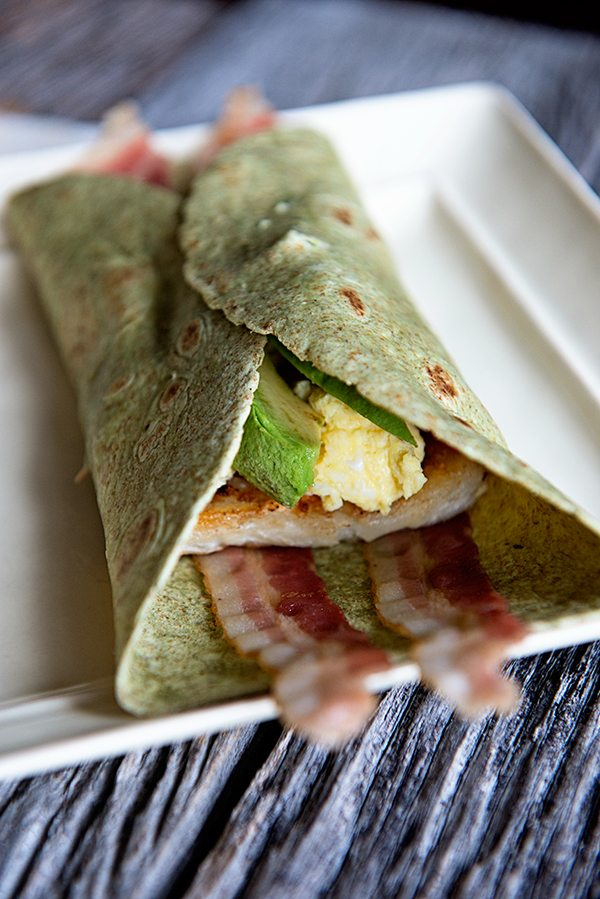 Hash Brown Avocado Breakfast Wrap dineanddish.net