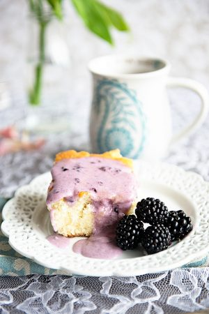 The Best Coffee Cake Recipe with Blackberry Glaze on dineanddish.net