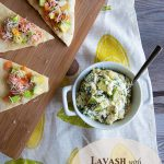 Lavash with Hot Spinach Avocado Dip from dineanddish.net