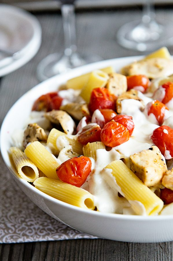 Chicken Caprese Pasta Recipe on dineanddish from the Skinnytaste Cookbook
