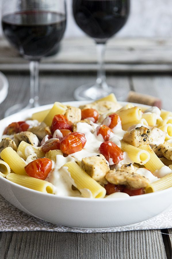 Chicken Caprese Pasta Recipe on dineanddish.net from the Skinnytaste Cookbook