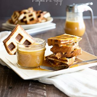 Easy Breakfast Recipes - King's Hawaiian Waffles with Pumpkin Pie Syrup from dineanddish.net