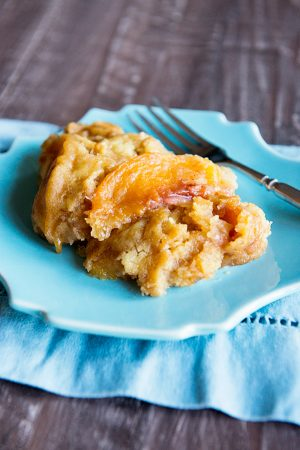 Peach Slow Cooker Dessert Recipe from dineanddish.net