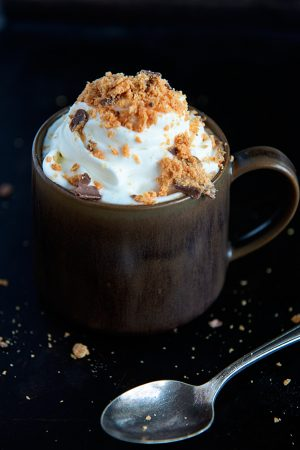 Slow Cooker Butterfinger Hot Chocolate Recipe from dineanddish.net