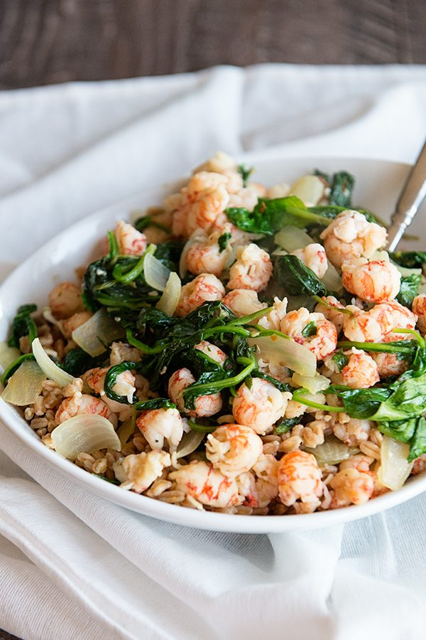 Farro with Langostino Tails and Spinach from www.dineanddish.net