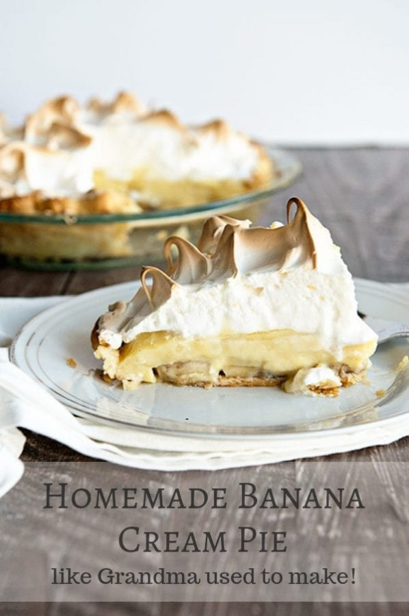 A Homemade Banana Cream Pie recipe just like what grandma used to make! Fluffy meringue and a flaky pie crust make this pie extra special.