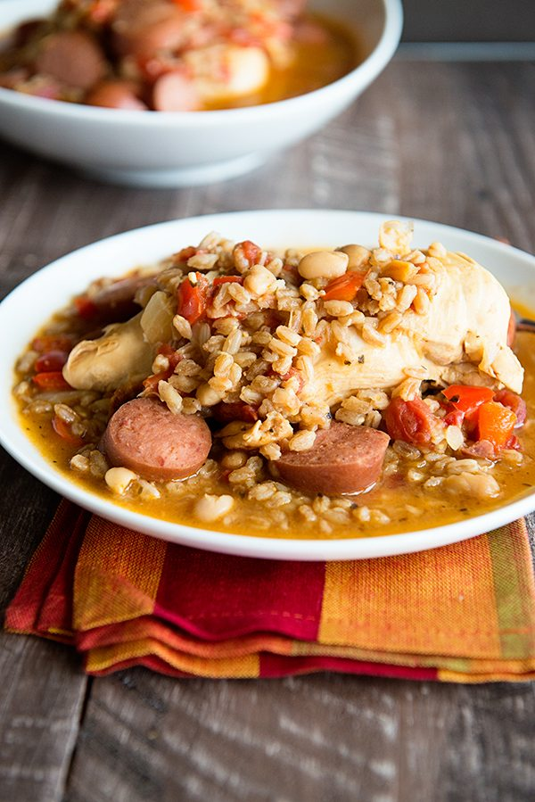 One Pot Recipe Chicken with Kielbasa and Beans from dineanddish.net