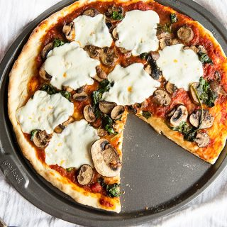 Pizza Dough Recipe and Sauteed Spinach and Mushroom Pizza for a perfect adult pizza night!
