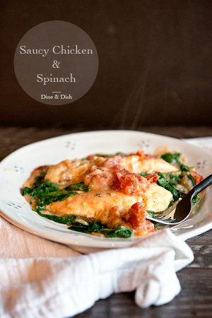 Saucy Chicken and Spinach Recipe {Weekly Menu Plan}