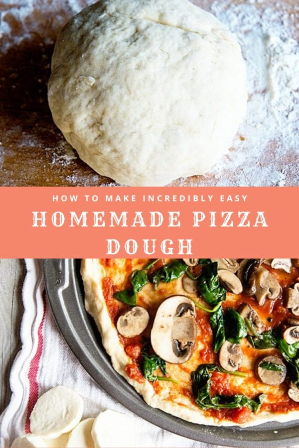 graphic with ball of pizza dough and pan of pizza