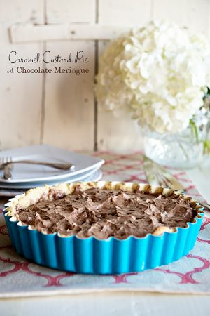 Caramel Custard Pie with Chocolate Meringue