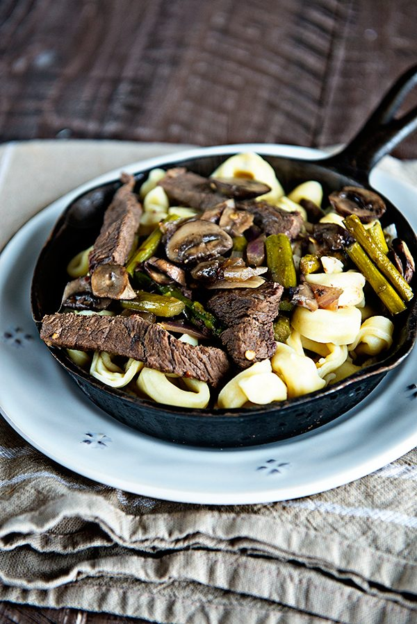 Skillet Steak Tortellini and Veggies Recipe from dineanddish.net